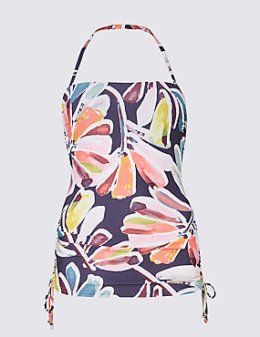 Floral Print Padded Bandeau Tankini Top