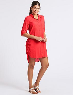 Pure Cotton 3/4 Sleeve Beach Dress, FLAME, catlanding