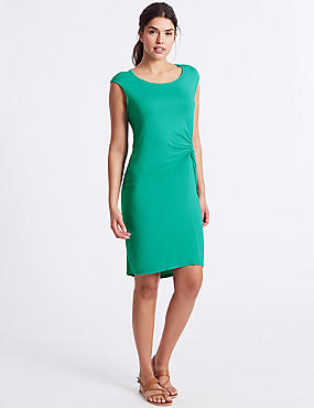 Jersey Side Knot Beach Dress, AQUA, catlanding