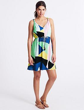 Printed Knot Beach Dress , YELLOW MIX, catlanding