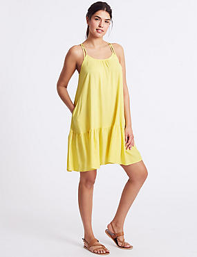 Woven Beach Dress, YELLOW, catlanding