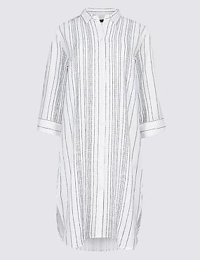 Pure Cotton Striped Shirt Dress , WHITE MIX, catlanding