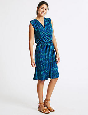 Leaf Print Wrap Beach Dress, BLUE MIX, catlanding