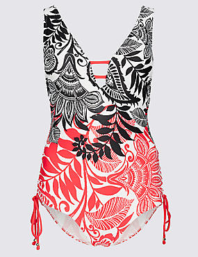 Secret Slimming™ Paisley Print Plunge Swimsuit