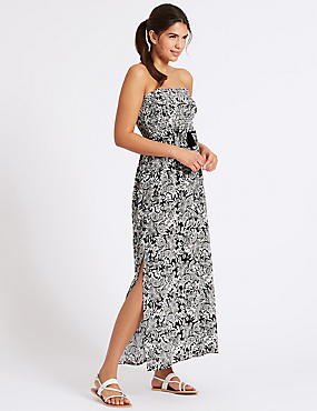 Paisley Print Shirred Beach Dress, BLACK MIX, catlanding