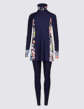 Floral Print 3 Piece Swimsuit , NAVY MIX, catlanding