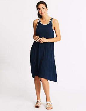 Cotton Rich Pleated Beach Dress, NAVY MIX, catlanding