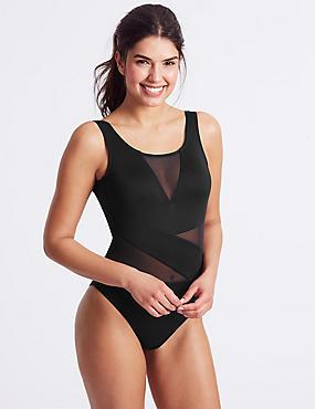 Mesh Non-Wired Swimsuit , BLACK, catlanding