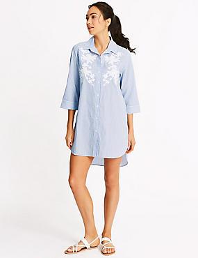 Pure Cotton Floral Beach Dress, BLUE MIX, catlanding