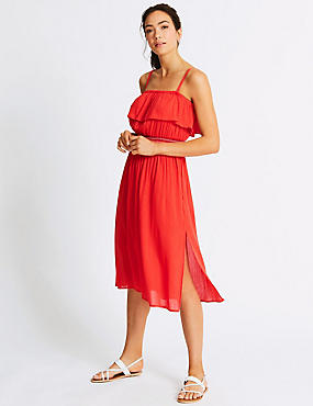 Cotton Rich Bardot Beach Dress, RED, catlanding