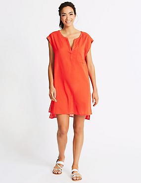 Pure Cotton Beach Dress, RED, catlanding