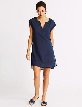 Pure Cotton Beach Dress, NAVY, catlanding