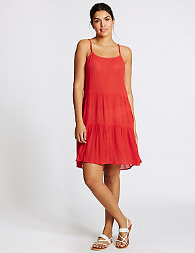 Flippy Crinkle Beach Dress , RED, catlanding
