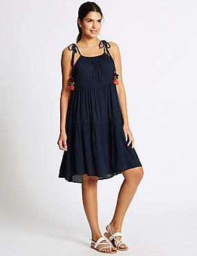 Pom Pom Crinkle Beach Dress, NAVY MIX, catlanding