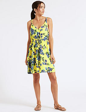 Floral Print Knot Beach Dress, YELLOW MIX, catlanding