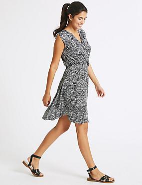 Printed Wrap Beach Dress, BLACK MIX, catlanding