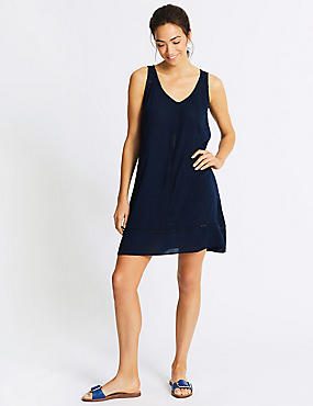 Cotton Rich Crinkle Beach Dress , NAVY MIX, catlanding