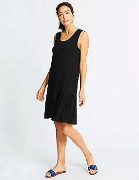 Pleat Beach Dress, BLACK, catlanding