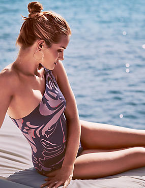 One Shoulder Printed Swimsuit Floral