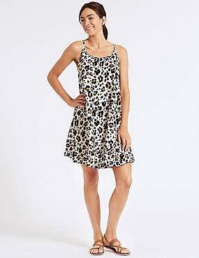 Animal Print Woven Beach Dress, CREAM MIX, catlanding