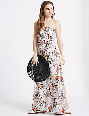 Floral Print Shirred Maxi Beach Dress
