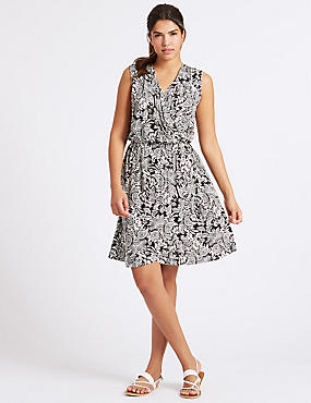 Paisley Print Wrap Dress, WHITE MIX, catlanding
