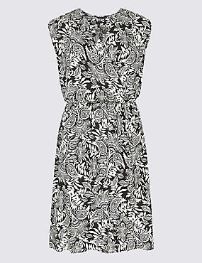 Paisley Print Wrap Dress, WHITE MIX, catlanding
