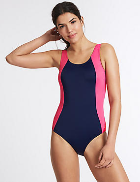 Secret Slimming™ Colour Block Swimsuit, BLUE MIX, catlanding