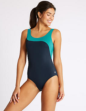 Secret Slimming™ Colour Block Swimsuit, NAVY MIX, catlanding