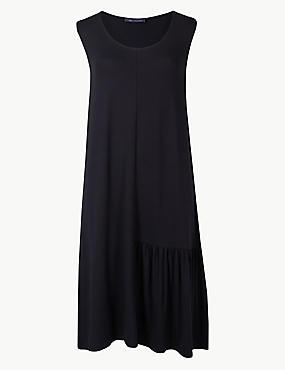 Pleated Beach Dress, BLACK, catlanding