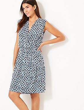 Spot Print Wrap Beach Dress, WHITE MIX, catlanding