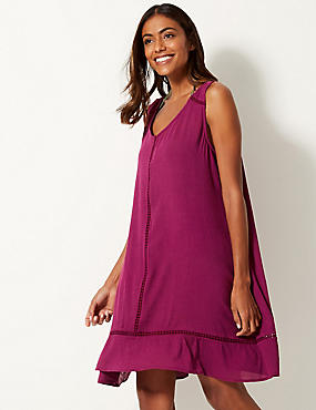 Cotton Rich Crinkle Swing dress, BERRY, catlanding