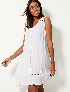 Cotton Rich Crinkle Swing dress, WHITE, catlanding