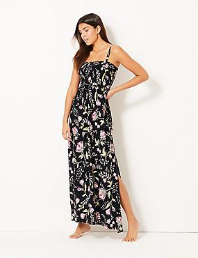 Floral Print Maxi Dress, BLACK MIX, catlanding