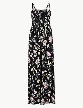 Thistle Print Maxi Dress, BLACK MIX, catlanding