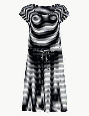 Striped Beach Dress, NAVY MIX, catlanding