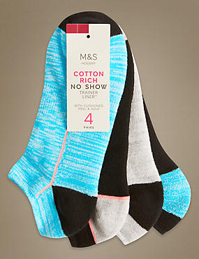 4 Pair Pack Cotton Rich No Show Trainer Liner Socks