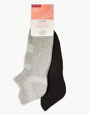 2 Pair Pack Trainer Liner Socks, GREY MIX, catlanding