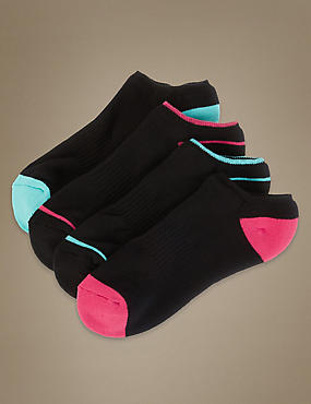 4 Pair Pack No Show Heel & Toe Trainer Liner Socks