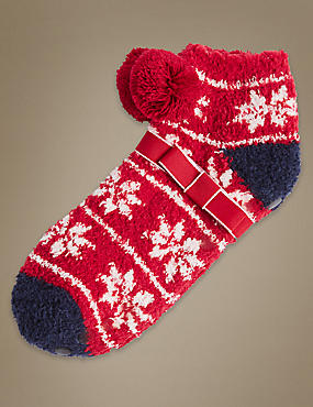 Pom Pom Fairisle Print Slipper Socks
