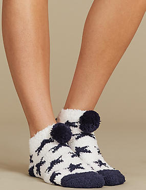 Pom Pom Star Print Slipper Socks