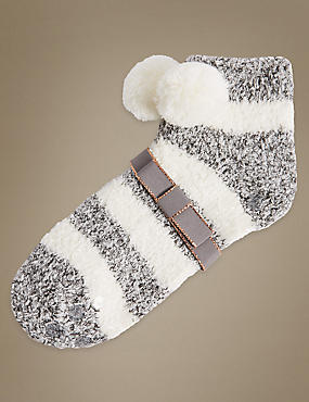 Pom Pom Striped Slipper Socks