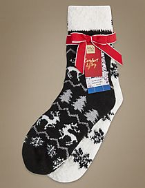 2 Pair Pack Fairisle Cosy Bed Socks