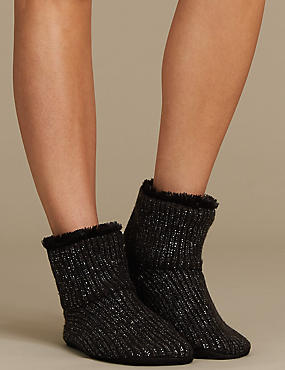 Faux Fur Sparkle Knitted Booties