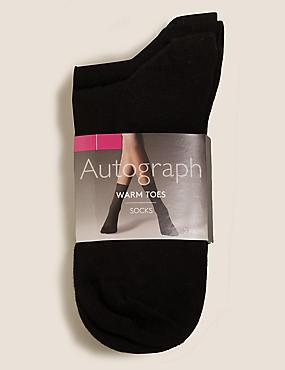 2 Pair Pack Warm Toes Ankle High Socks, BLACK MIX, catlanding