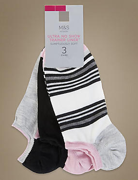 3 Pair Pack Ultra No Show Supersoft Trainer Liner Socks