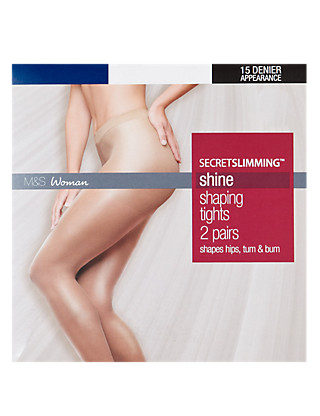 15 Denier Secret Slimming™ Shine Bodyshaper Tights 2 Pair Pack Clothing