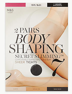 2 Pair Pack 7 Denier Secret Slimming™ Sheer Body Shaper Tights, NEARLY BLACK, catlanding