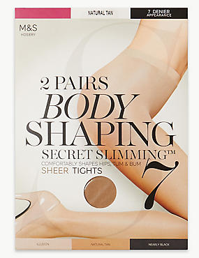 2 Pair Pack 7 Denier Secret Slimming™ Sheer Body Shaper Tights, NATURAL TAN, catlanding