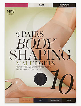 2 Pair Pack 10 Denier Secret Slimming™ Matt Body Shaper Tights, NAVY, catlanding